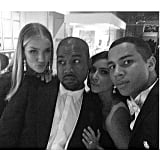 Kanye West and Kim Kardashian posed with model Rosie Huntington-Whiteley and designer Oliver Rousteing. Source: Instagram user kimkardashian