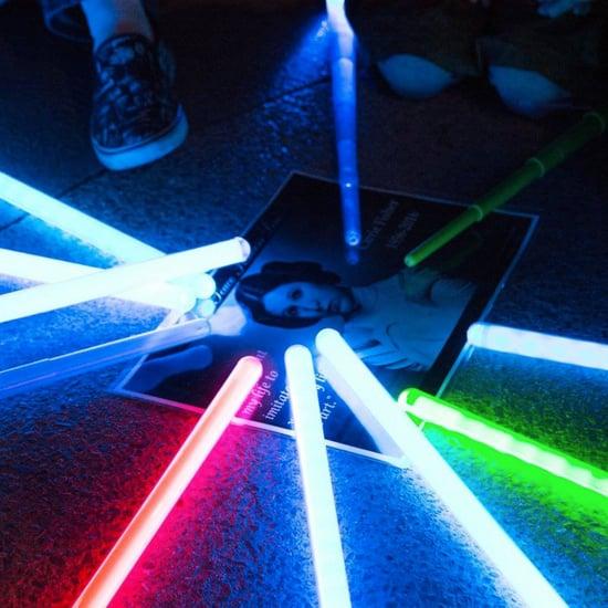 Carrie Fisher Lightsaber Vigil at Disneyland