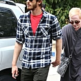 Andrew Garfield was out for a hike at Wilacre Park in LA yesterday.