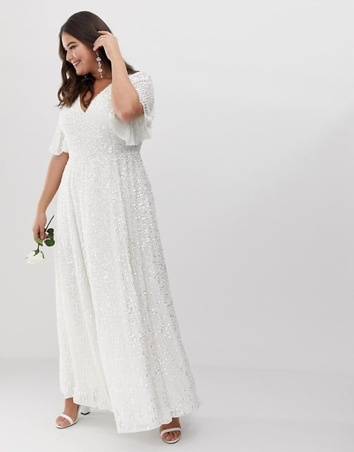 Asos Edition Curve Flutter Sleeve Sequin Maxi Wedding Dress