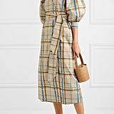 Ganni Checked Cotton-Poplin Wrap Dress ($429.28)