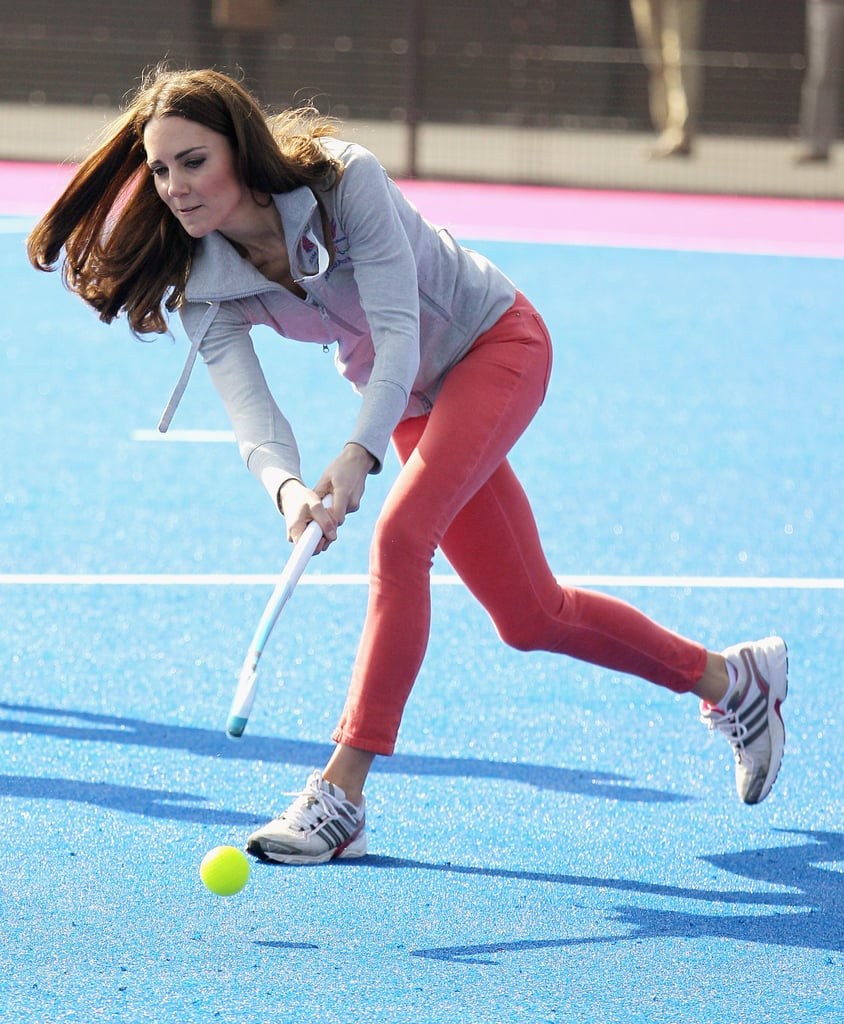 Kate Middleton playing hockey in London's Olympic Park.