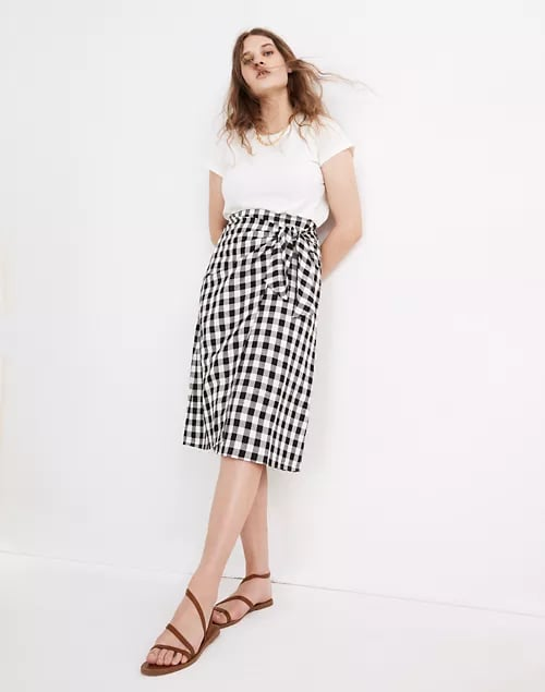 Madewell Sarong Faux-Wrap Midi Skirt in Gingham Check