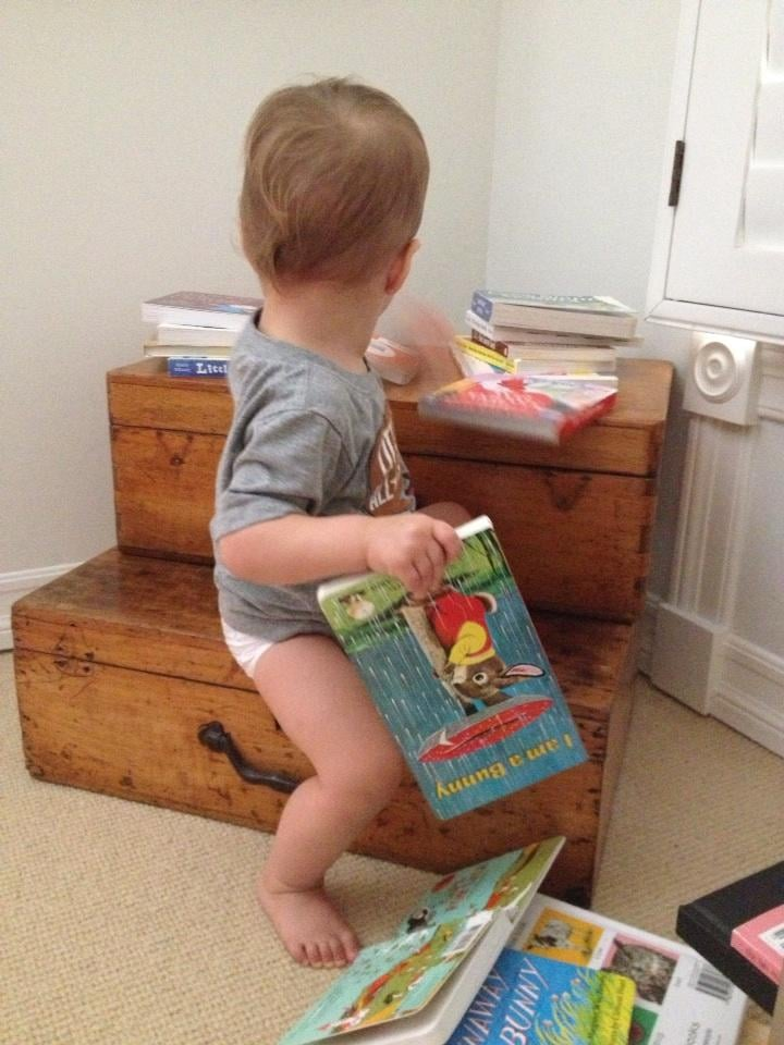 Arthur Bleick prepared for naptime with a good read in his hand. Source: Twitter user SelmaBlair