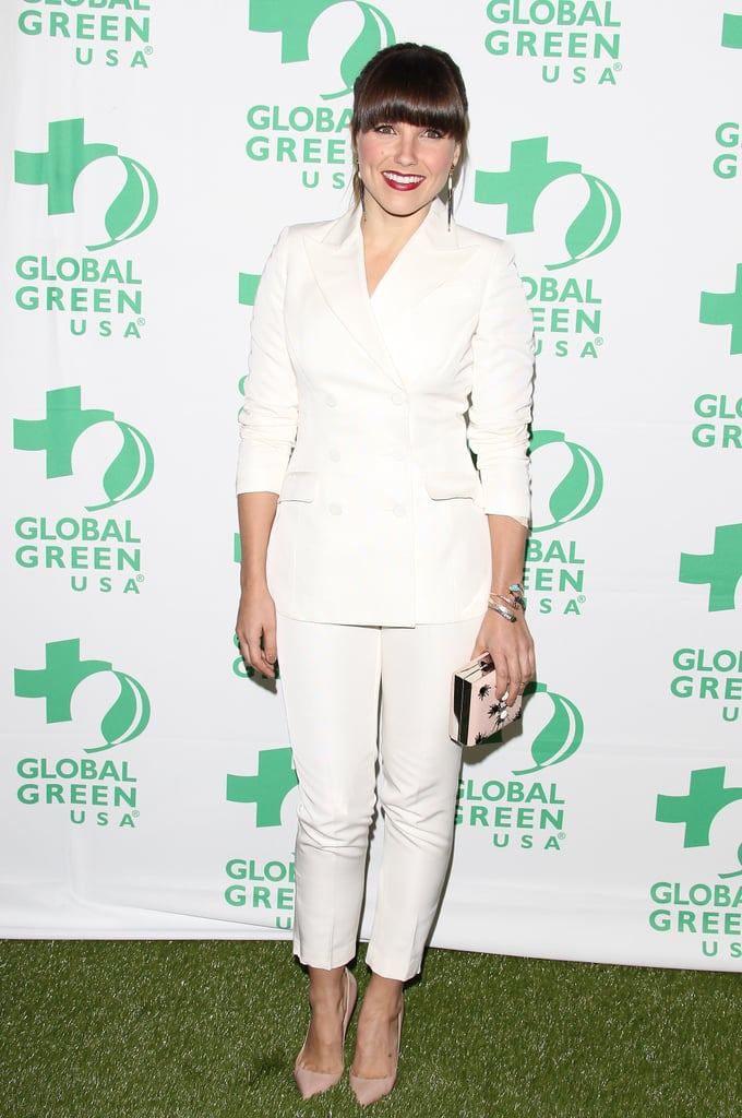 Sophia Bush wore a white H&M Conscious collection suit (made out of organic cotton), paired with nude Christian Louboutin pumps and a satin embellished box clutch.
