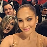It's J. Lo and J. An! Jennifer Aniston and Justin Theroux got in Jennifer Lopez's 2015 Oscars selfie.