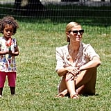Heidi Klum hung out in the grass with Lou.