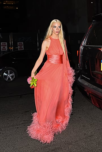 Anya Taylor-Joy Pink Alexandre Vauthier Feather Gown at SNL