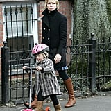 Michelle Williams and daughter Matilda strolling right along.