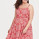 Torrid Coral Medallion Cutout Challis Dress