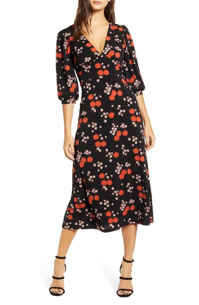 All in Favor Print Blouson Sleeve Midi Dress