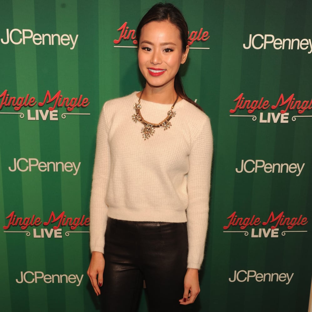 Jamie Chung Leather Pants and White Sweater Outfit