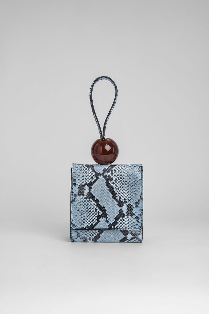 By Far Ball Bag Blue Snake Print Leather