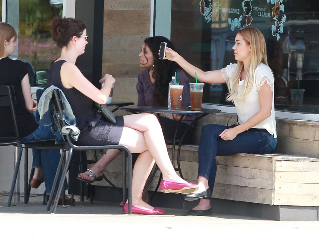 Lauren Conrad got together with a friend at Starbucks in LA.