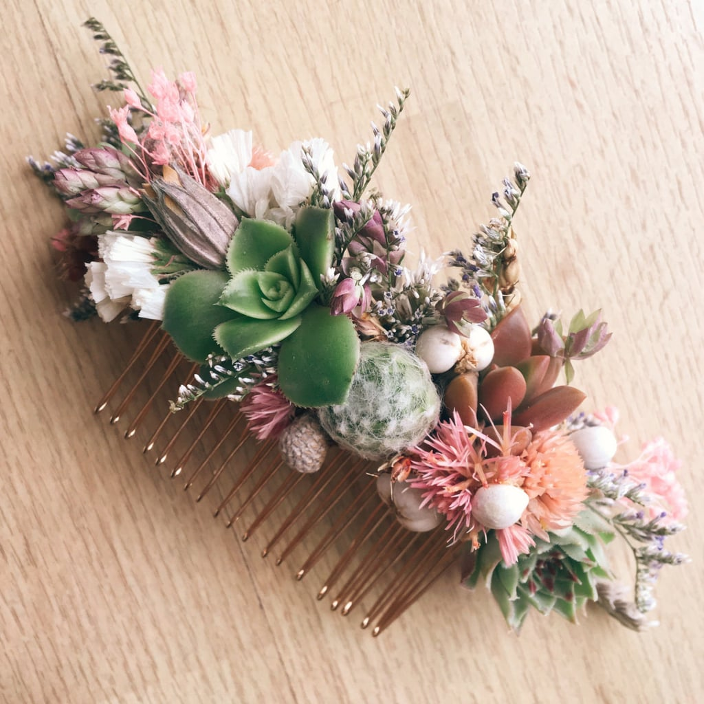 Succulent Hair Comb in Green and Pink ($48)