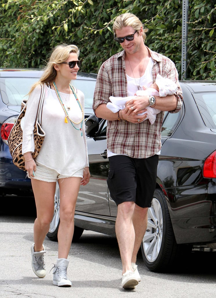 The adorable outings kept coming for the Pataky-Hemsworth family in LA yesterday. Chris carried baby India alongside Elsa as they headed into a restaurant to grab a bite. The trio has been on the West Coast for over a week enjoying the sunshine and hanging out with friends. They also celebrated Elsa's 36th birthday and the exciting news that Chris will star in Robopocalypse, which will be directed by Steven Spielberg. It's just the latest project for Chris, who has filming for Thor 2 and a Snow White and the Huntsman sequel coming up. His role in this year's Snow White and the Huntsman and The Avengers landed him a Teen Choice Award at last night's show.