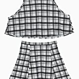 Choies Plaid Crop Top With A-Line Skirt