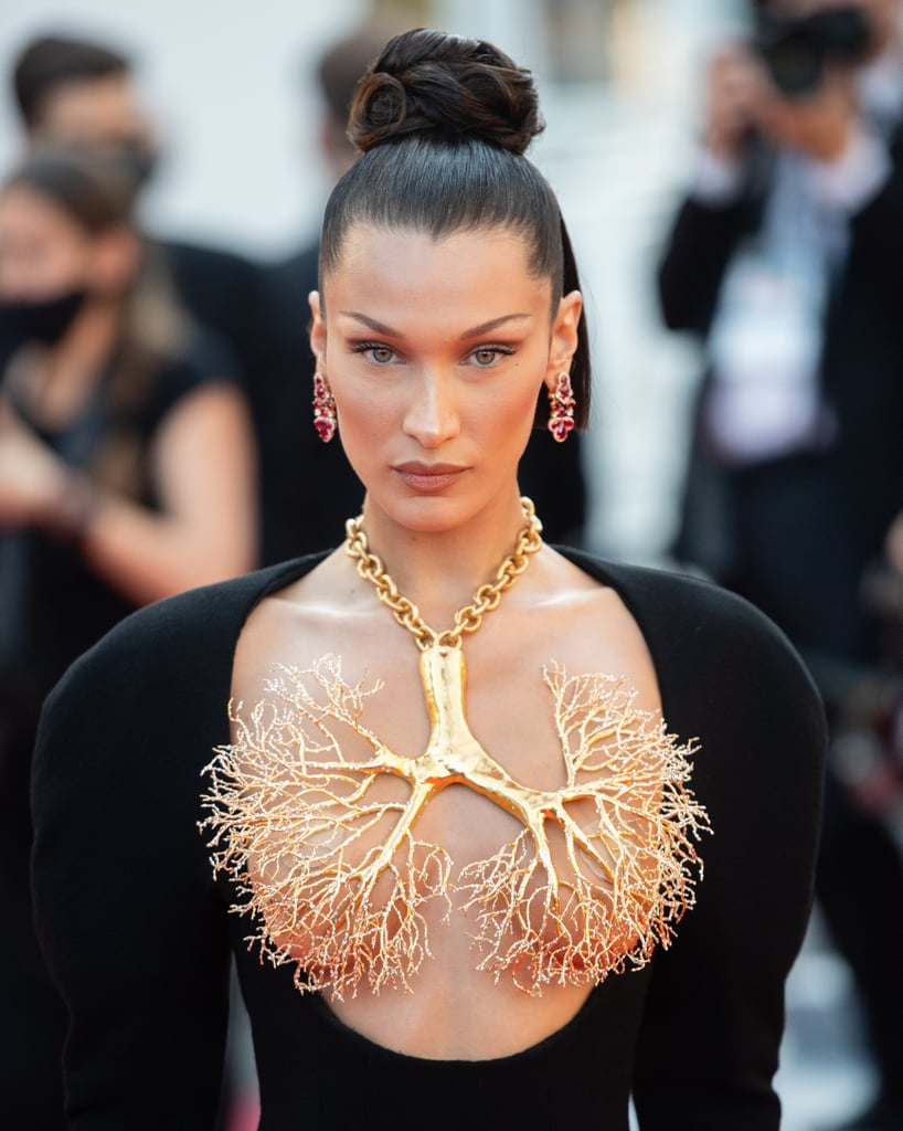 See Photos of Bella Hadid's Bun Updo at the 2021 Cannes Film Festival