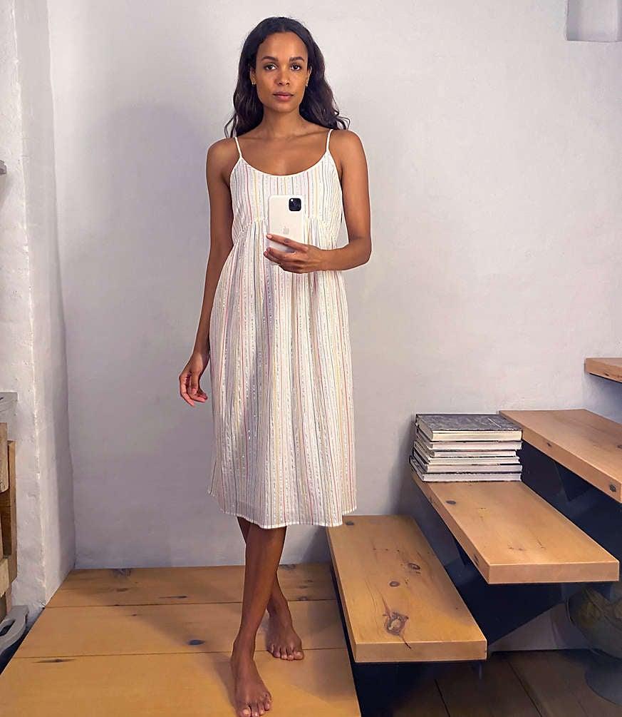 Lou & Grey Shimmer Stripe Strappy Babydoll Dress