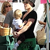 Pink carried Willow Hart on a trip to the farmers market in Malibu.