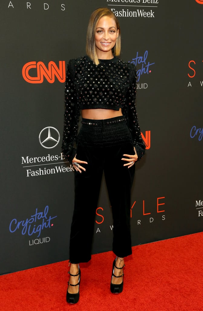 Nicole Richie put her svelte midriff on display in a beaded Giorgio Armani cutout jumpsuit at the 10th annual Style Awards in NYC. All that texture was quite mesmerizing.