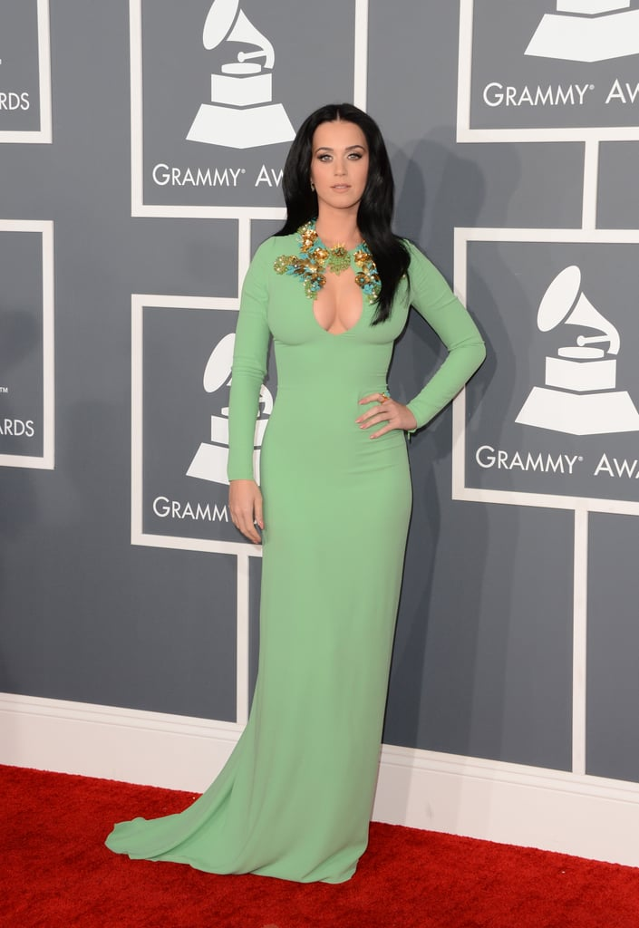 Katy Perry wore green to the Grammy Awards.
