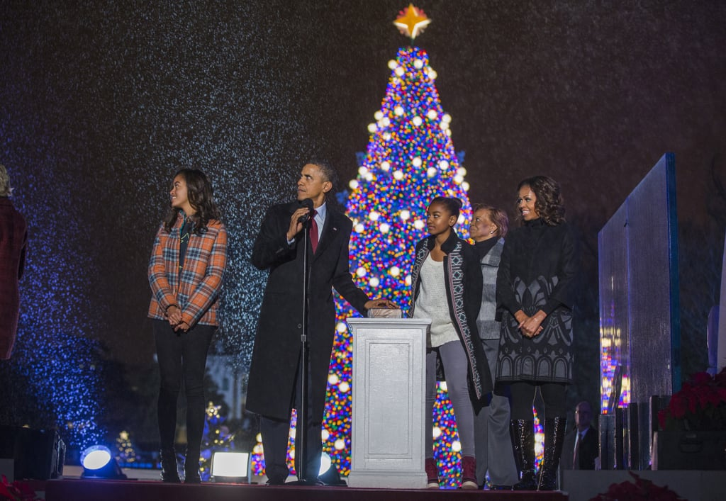 The Obamas enjoyed a picture-perfect moment at the national Christmas tree lighting ceremony in DC.