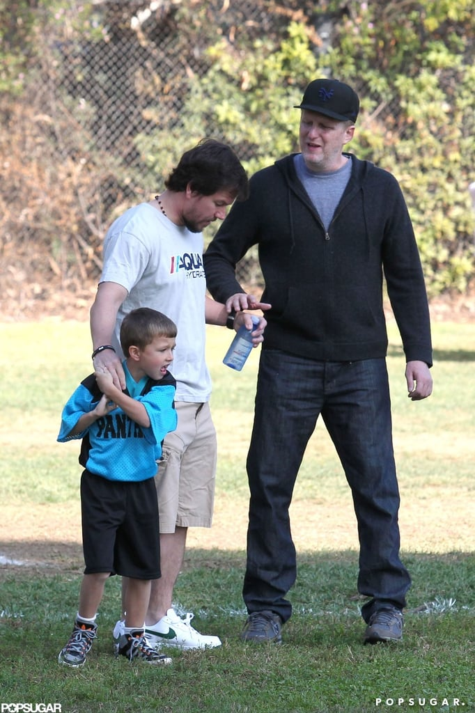 Mark Wahlberg chatted with a fellow game attendee at the park.