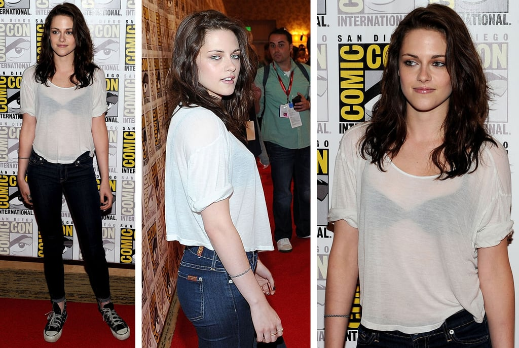 Kristen Stewart Wears Sexy White Sheer Tee Shirt and 7 for All Mankind Jeans to Comic-Con Event: Steal Her Style!