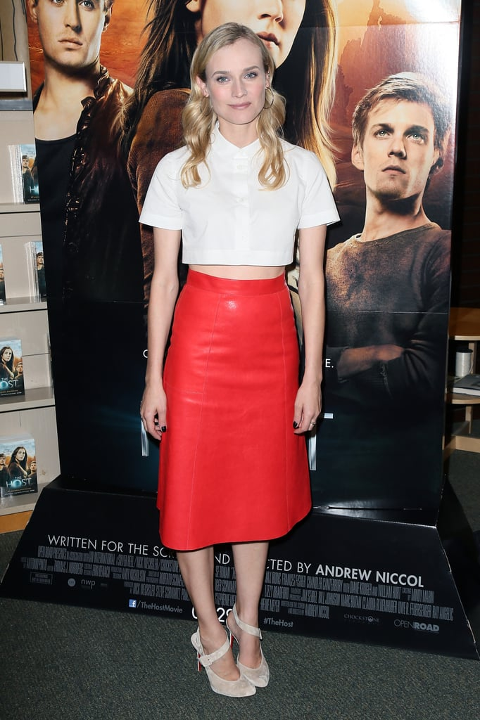 Leave it to Diane to always up the fashion ante while promoting her latest ventures. The blond trendsetter worked a bold, modern, and totally cool pairing, a cropped white Carven top and red leather Vanessa Bruno skirt, for a March 2013 book signing in LA.