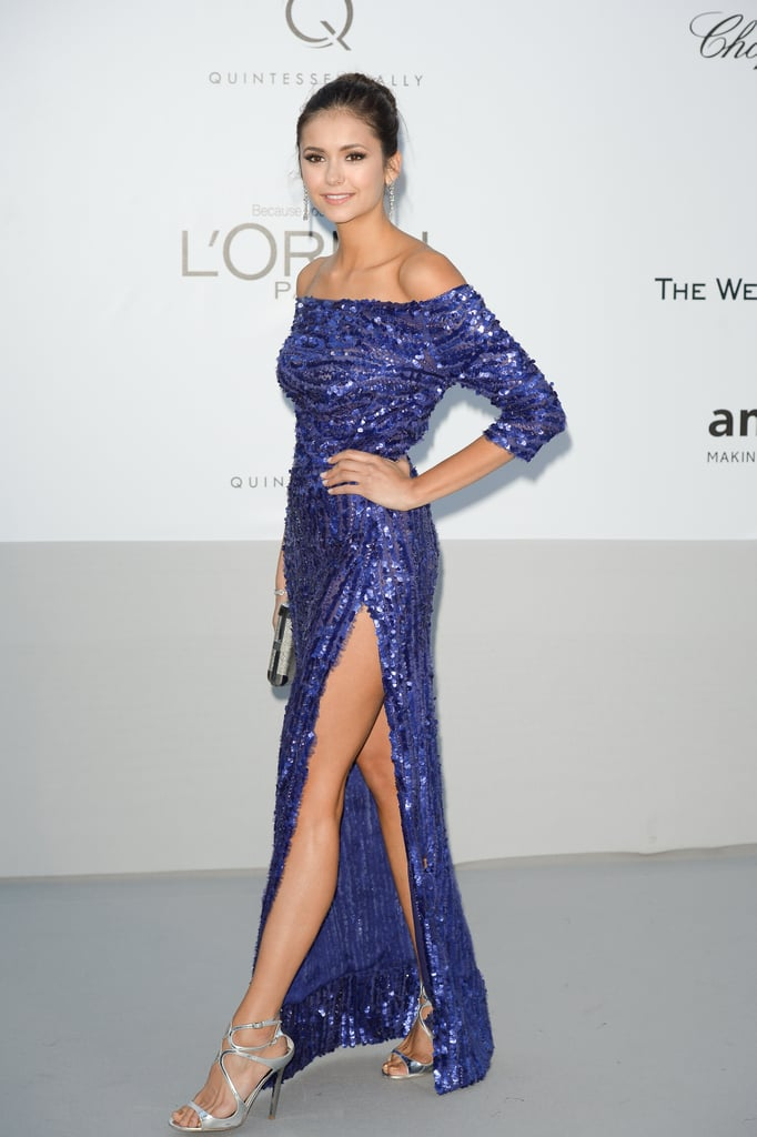 Nina's Elie Saab gown showcased a whole lot of leg.