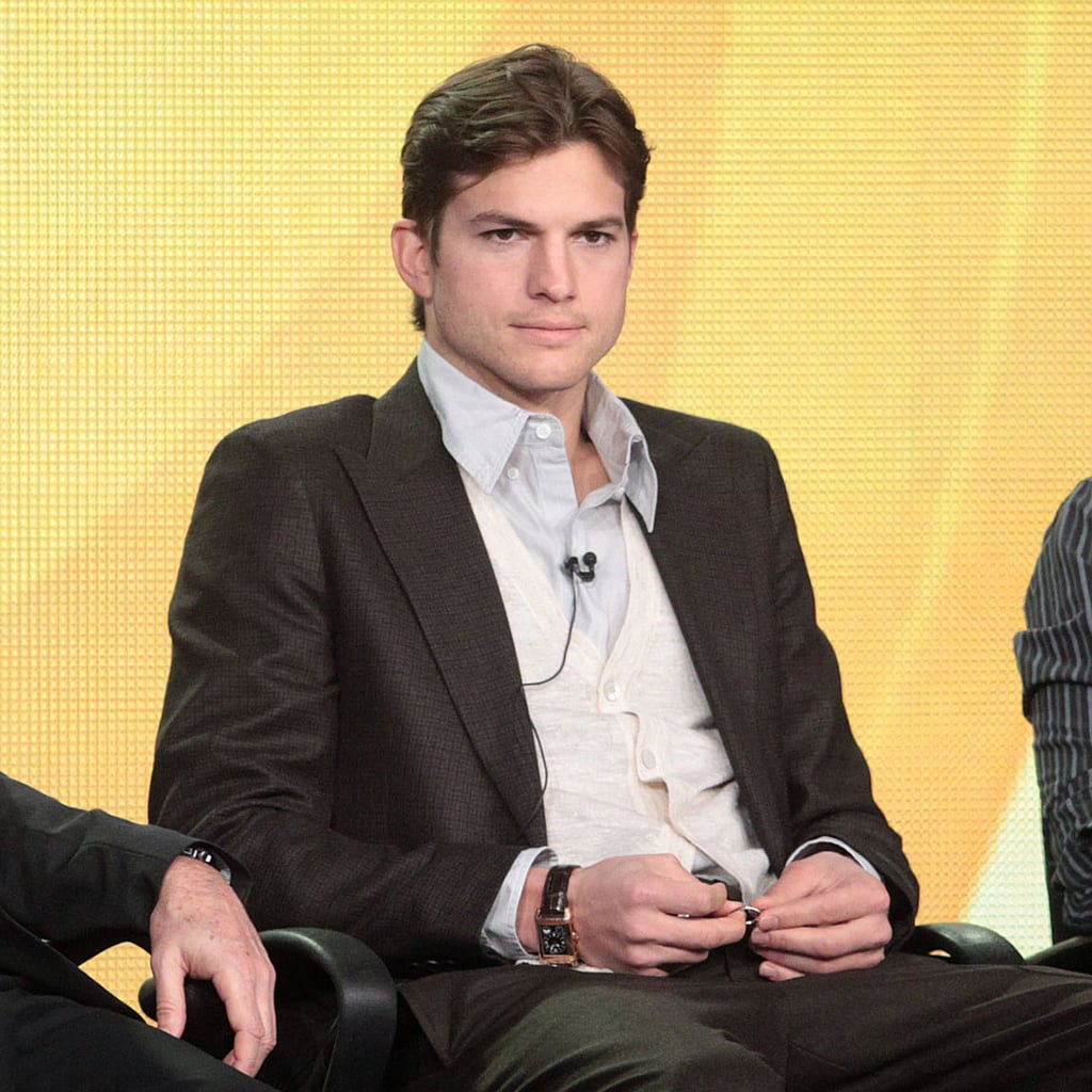 Ashton Kutcher joined his Two and a Half Men co-stars Jon Cryer and Angus T. Jones along with the show's creator Chuck Lorre at yesterday's CBS Winter TCA panel in Pasadena. Ashton shocked the crowd with a cleaned up look, which he revealed will be woven into an upcoming storyline. Ashton was still wearing his wedding band, but was noticeably fidgeting with it during the chat. Since news of Ashton's split from Demi Moore the actor's been keeping a low profile at home and overseas. He vacationed with friends in Greece and Germany over the holidays and recently took in a Lakers game in LA. So far the story line of Two and a Half Men eerily mirrors some of the details of Ashton's personal life so we'll just have to keep watching to see what the future has in store for his onscreen character and real-life Ashton.