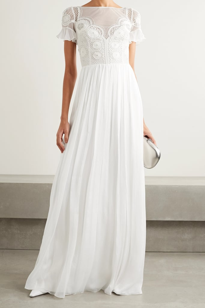 Temperley London White Open-Back Embellished Crocheted Gown