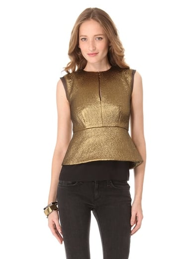 This Diane von Furstenberg Delian Jacquard Top ($242, originally $345) was made for your big nights out, thanks to peplum and a metallic finish.