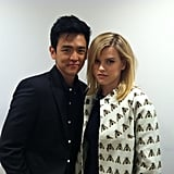 Star Trek Into Darkness stars John Cho and Alice Eve sidled up for a picture. Source: Twitter user simonpegg