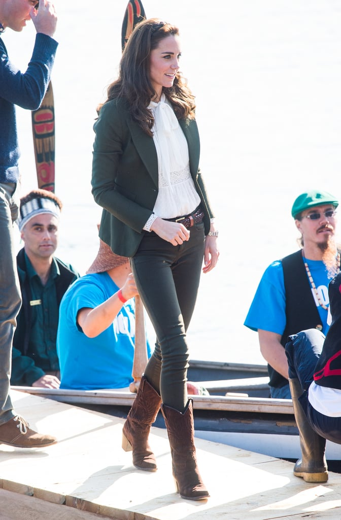 Kate dressed up Zara jeans with a pretty Somerset by Alice Temperley blouse and Smythe Les Vestes blazer for a trip to Haida Gwaii. She wore cowboy style boots by R.Soles and finished the look with her Kiki McDonough drop earrings.