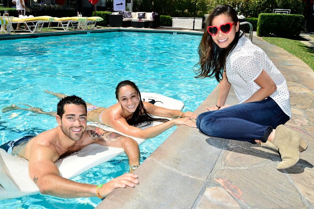 Jamie Chung sat poolside with Jesse Metcalfe and his fiancée, Cara Santana.