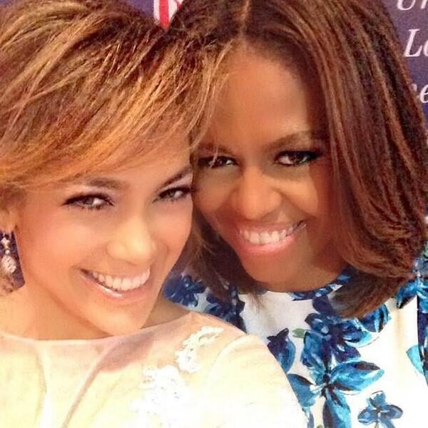 Jennifer Lopez and First Lady Michelle Obama huddled for their smiley selfie at a charity luncheon in July 2015.