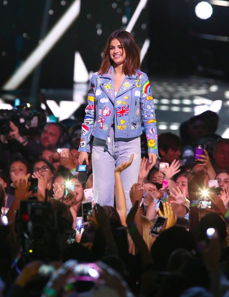 Selena Gomez's Jenny Packham Blue Leather Jacket