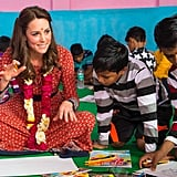 Kate got down on the children's level — literally — when she participated in an arts and crafts class in New Delhi, India in April 2016.