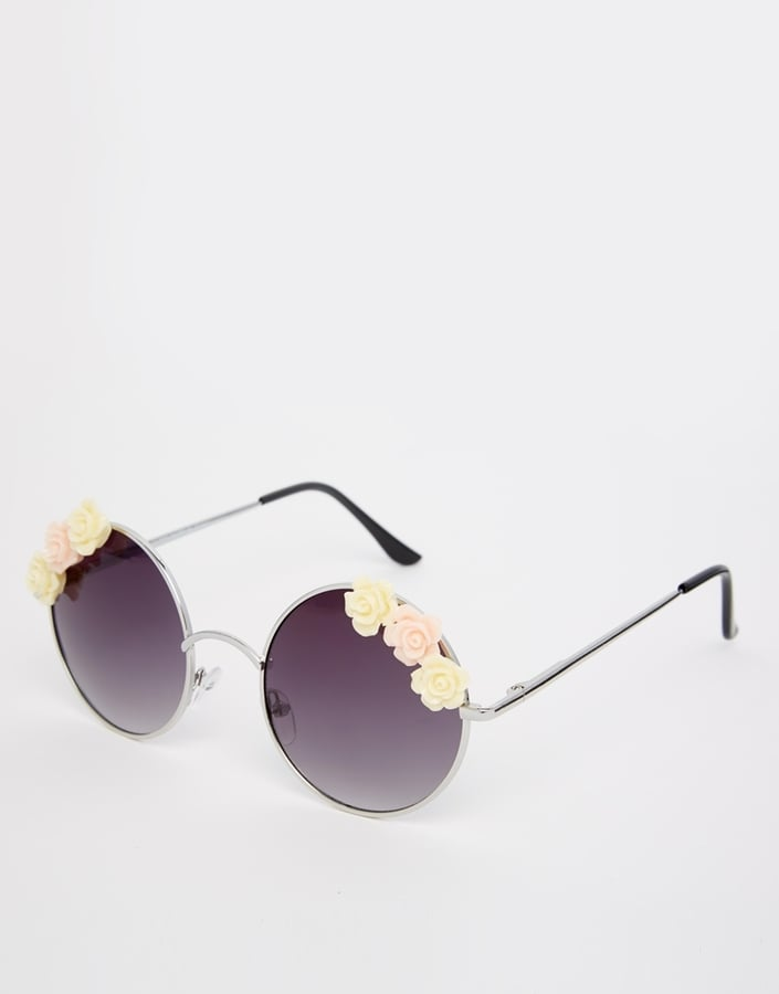 ASOS Collection Embellished Floral Round Sunglasses ($27)