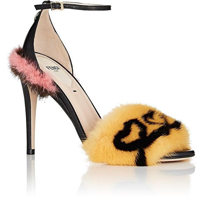 Fendi Fur-Trimmed Leather Sandals