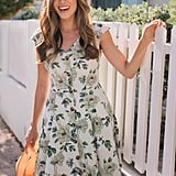 Gal Meets Glam Collection Lilly Button Detail Fit & Flare Dress