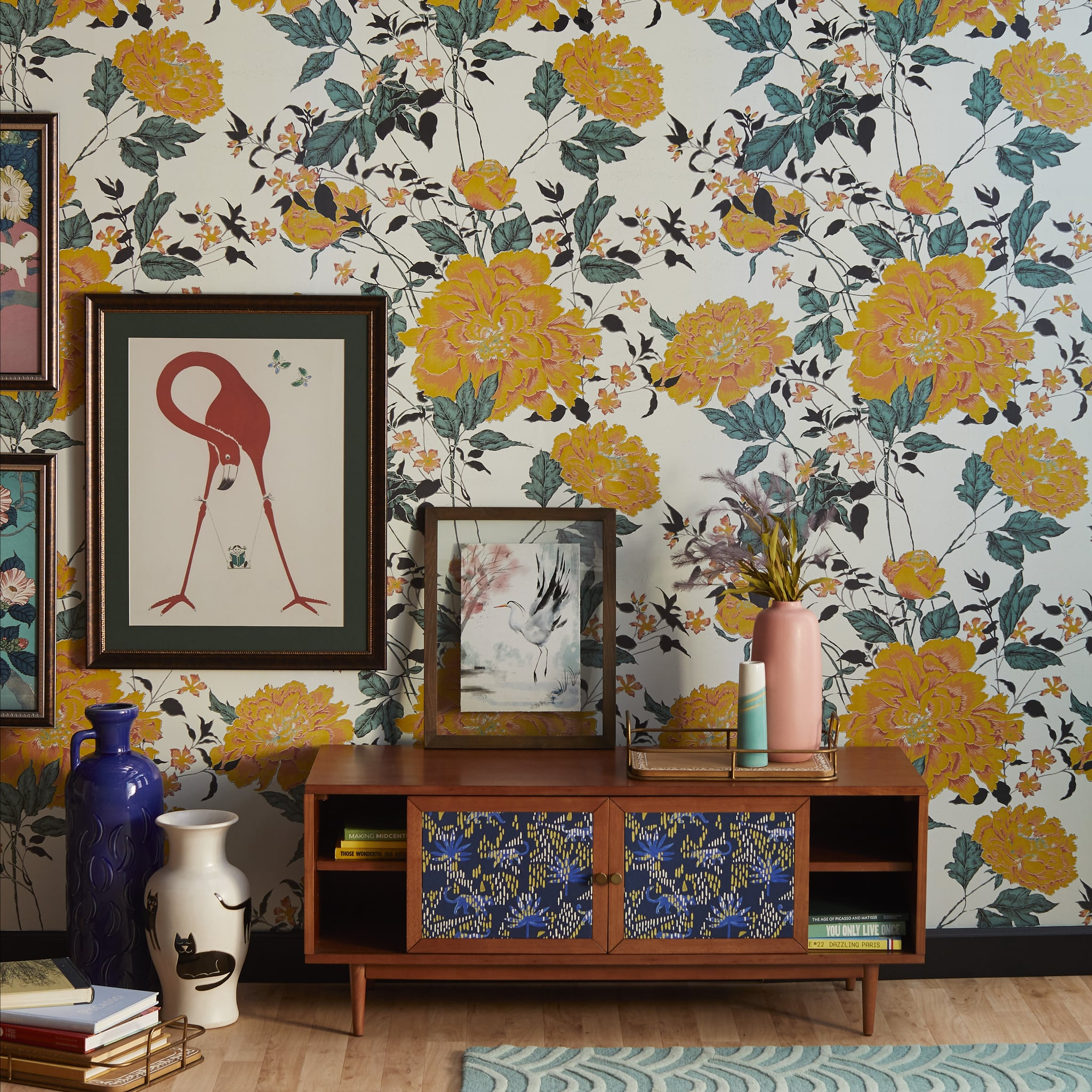 Yellow Vintage Floral Peel And Stick Wallpaper Drew Barrymore S