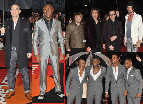 Photos of Male Celebs on Red Carpet at Brit Awards 2010 Including Robbie Williams, Dizzee Rascal, Kasabian and JLS