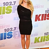 Britney Spears wore a black dress.