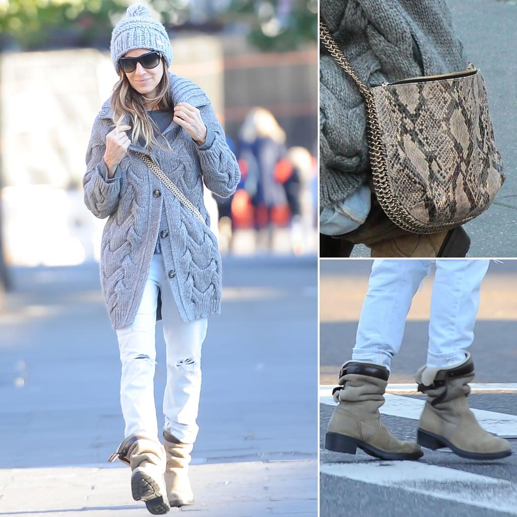 Sarah Jessica Parker's Chunky Gray Sweater