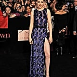 The actress tested the fashion-forward waters in a sequined J. Mendel gown, complete with a super sexy side slit, for the Hollywood premiere of Breaking Dawn Part 1 in November 2011.