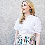For an eye-catching pop, I played off the colors in the skirt with mismatched stone earrings in jade green.  On Laura: POPSUGAR at Kohl's puff-sleeve button-down top, Zimmermann skirt, and SVNR earrings.