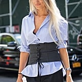 A Button-Down Shirt And Corset